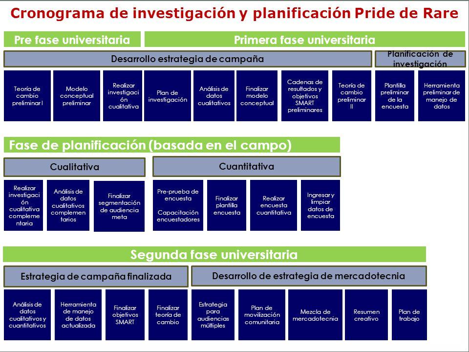 Cronograma de investigación y planificación Pride de Rare