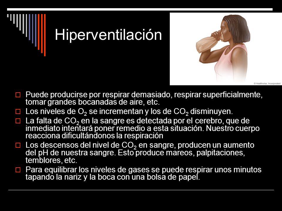 Hiperventilación Puede producirse por respirar demasiado, respirar superficialmente, tomar grandes bocanadas de aire, etc.