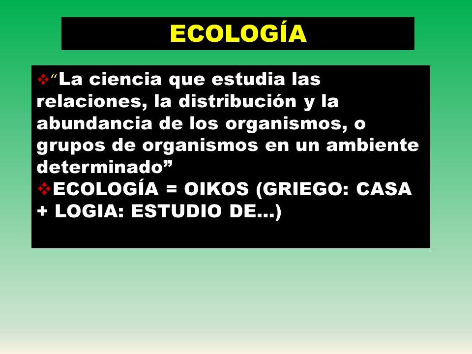 ECOLOGÍA ECOLOGÍA = OIKOS (GRIEGO: CASA + LOGIA: ESTUDIO DE…)