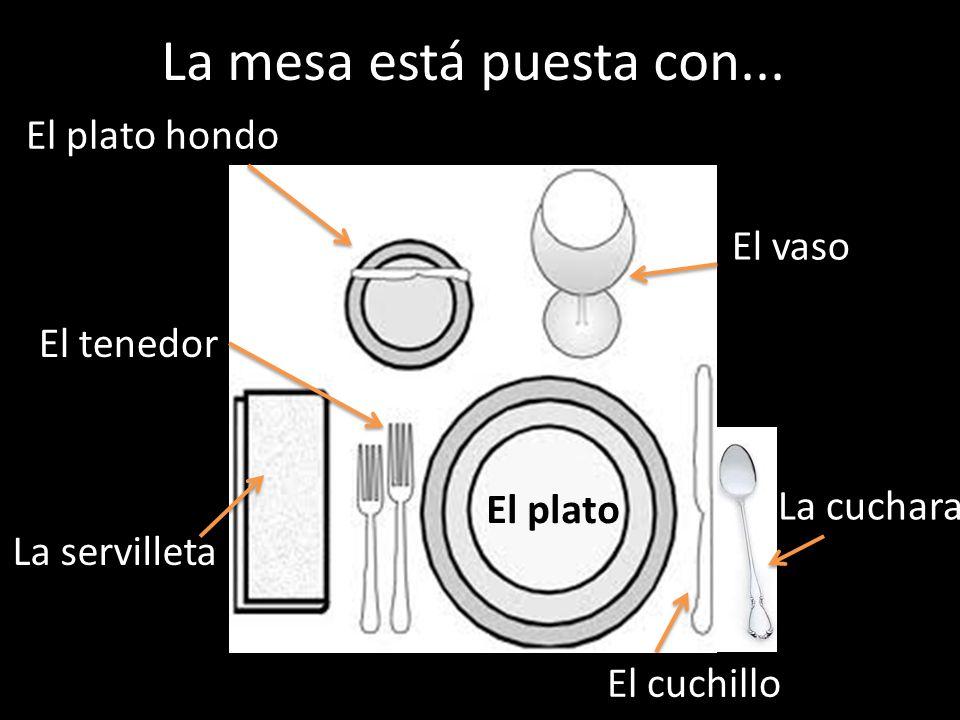 La mesa está puesta con... El plato hondo El vaso El tenedor