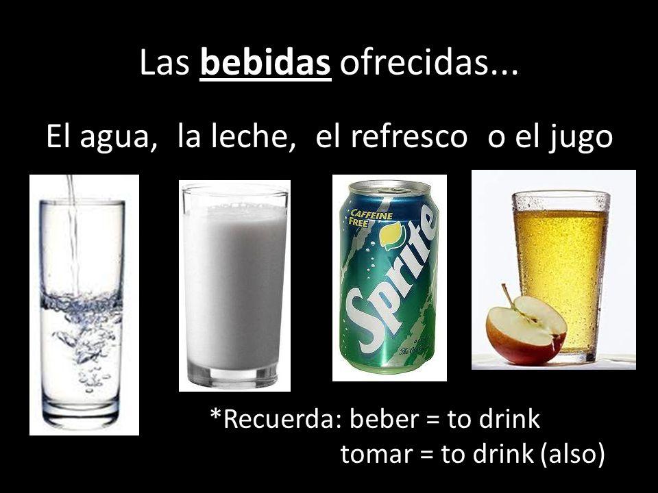 Las bebidas ofrecidas... El agua, la leche, el refresco o el jugo
