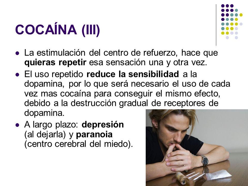 COCAÍNA (III) La estimulación del centro de refuerzo, hace que quieras repetir esa sensación una y otra vez.