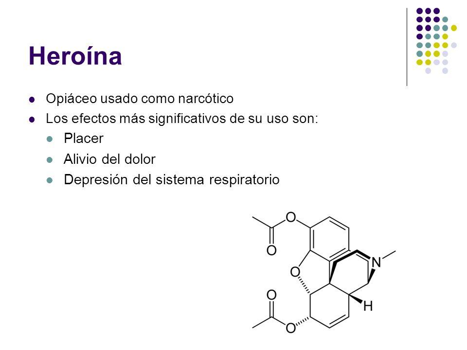Heroína Placer Alivio del dolor Depresión del sistema respiratorio