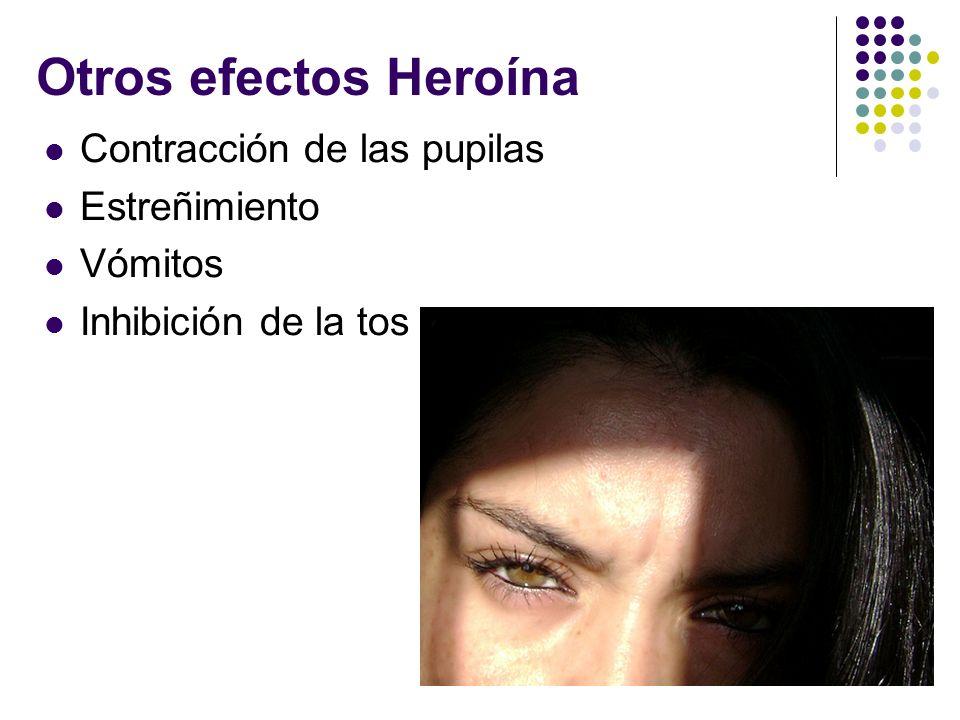 Otros efectos Heroína Contracción de las pupilas Estreñimiento Vómitos