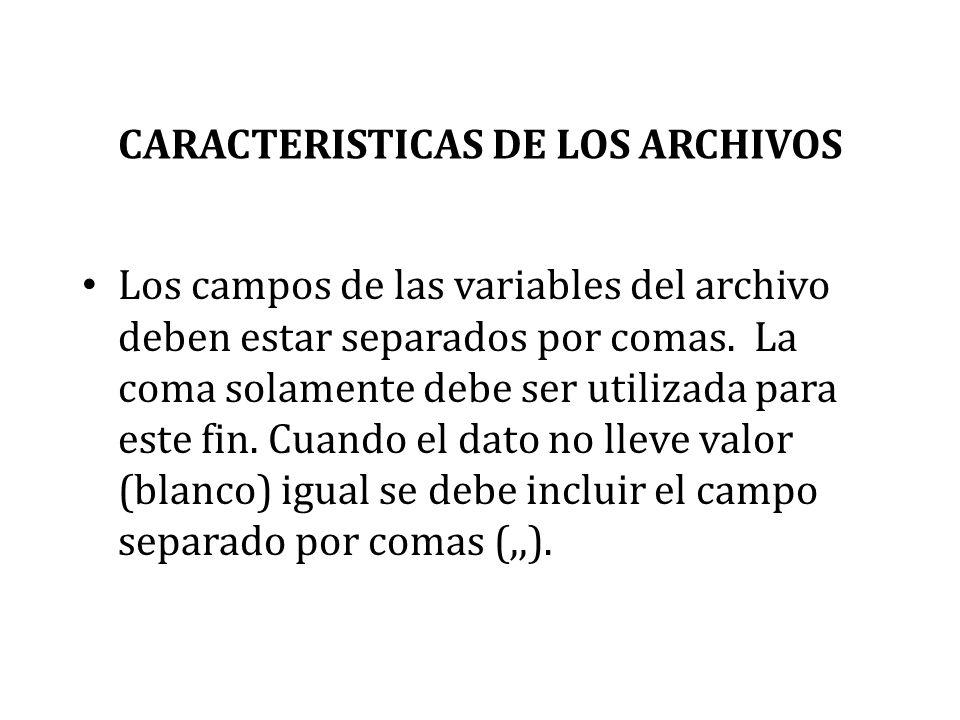 CARACTERISTICAS DE LOS ARCHIVOS