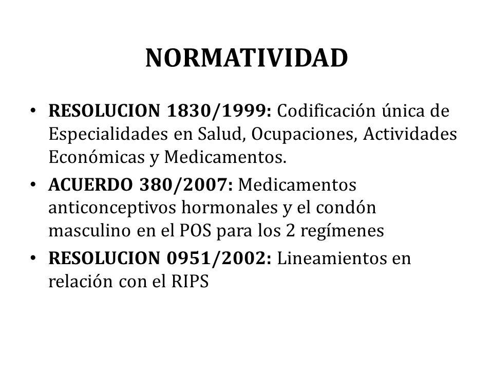 NORMATIVIDAD RESOLUCION 1830/1999: Codificación única de Especialidades en Salud, Ocupaciones, Actividades Económicas y Medicamentos.