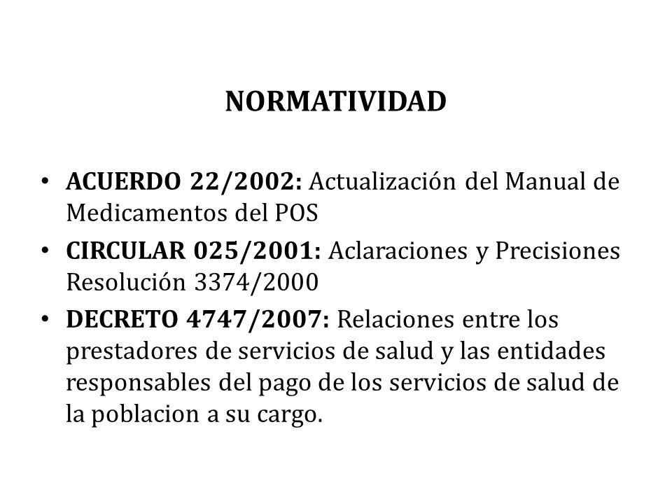 NORMATIVIDAD ACUERDO 22/2002: Actualización del Manual de Medicamentos del POS. CIRCULAR 025/2001: Aclaraciones y Precisiones Resolución 3374/2000.