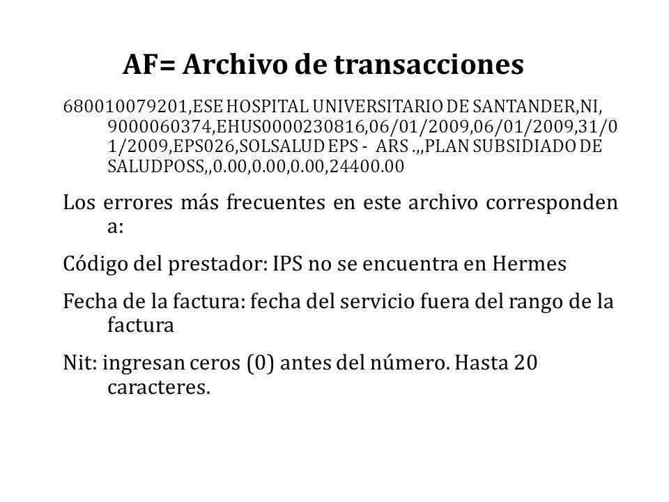 AF= Archivo de transacciones