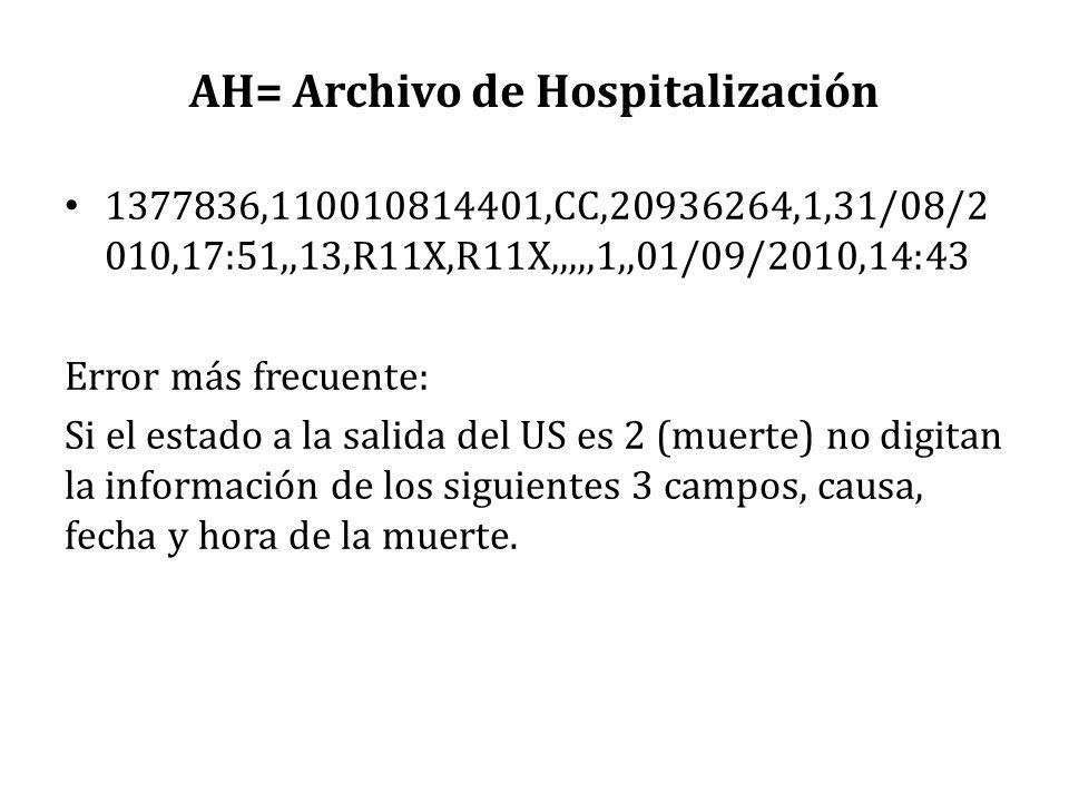 AH= Archivo de Hospitalización