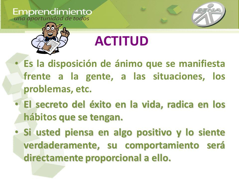 ACTITUD Es la disposición de ánimo que se manifiesta frente a la gente, a las situaciones, los problemas, etc.