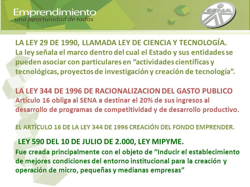 LA LEY 29 DE 1990, LLAMADA LEY DE CIENCIA Y TECNOLOGÍA