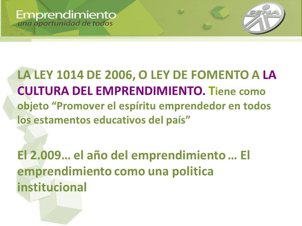 LA LEY 1014 DE 2006, O LEY DE FOMENTO A LA CULTURA DEL EMPRENDIMIENTO