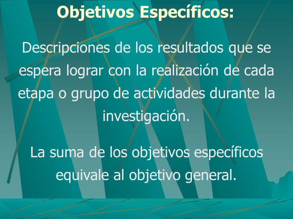 La suma de los objetivos específicos equivale al objetivo general.