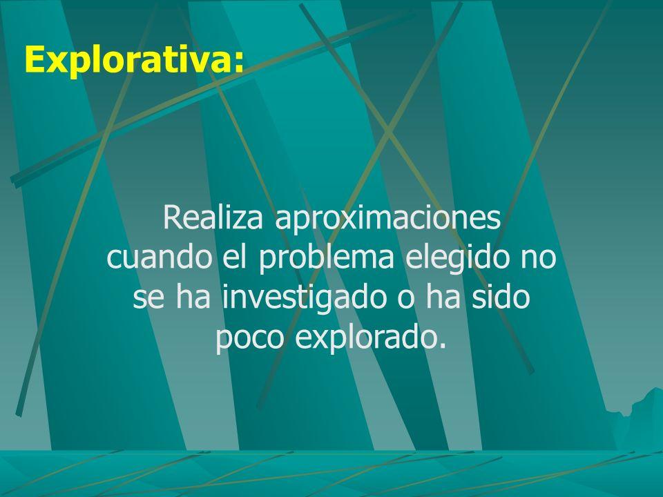 Explorativa: Realiza aproximaciones cuando el problema elegido no se ha investigado o ha sido poco explorado.