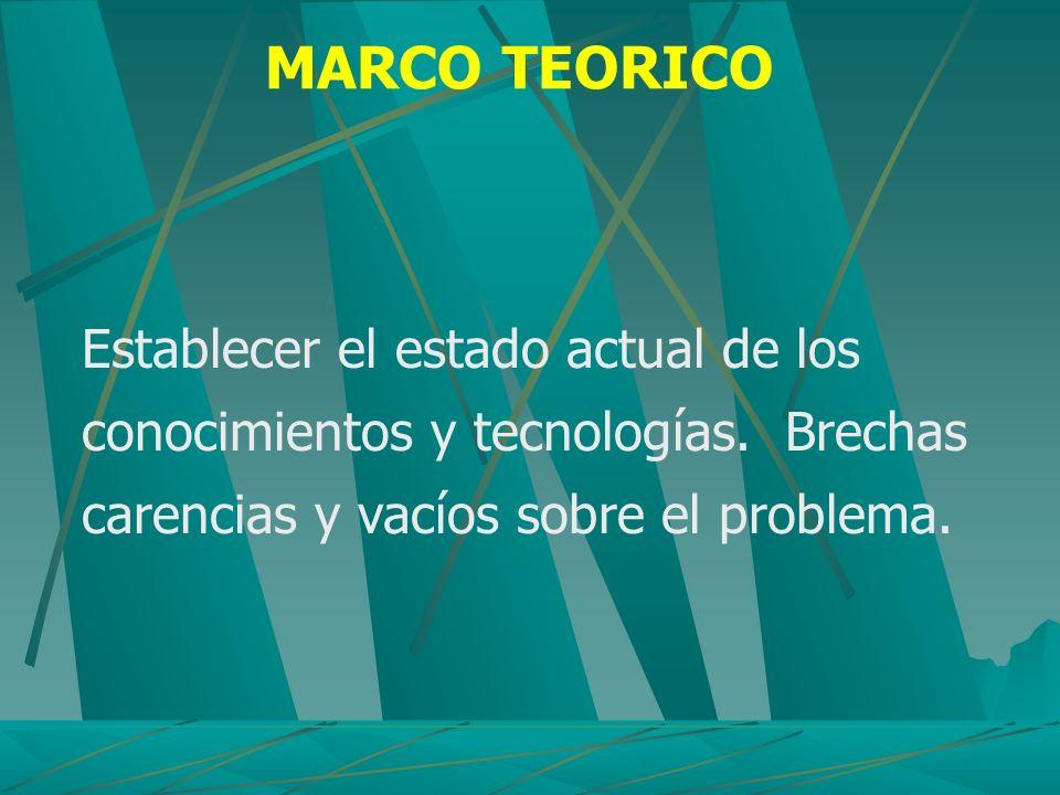 MARCO TEORICO Establecer el estado actual de los conocimientos y tecnologías.