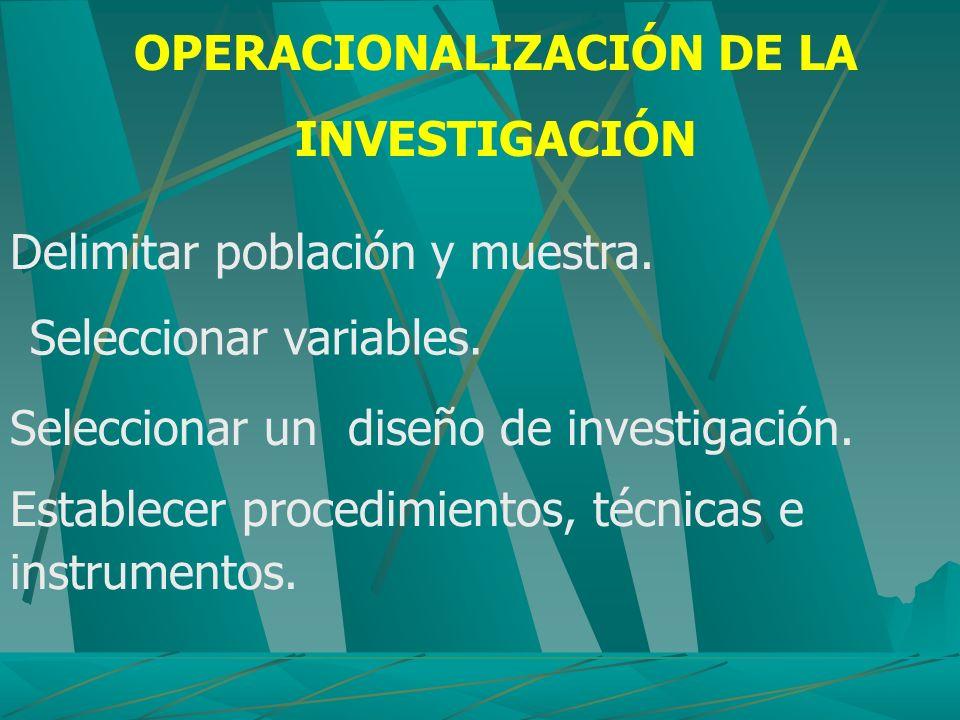 OPERACIONALIZACIÓN DE LA INVESTIGACIÓN
