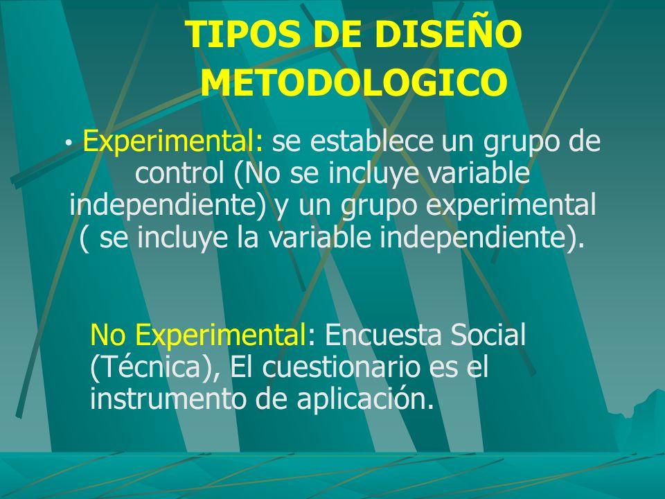 TIPOS DE DISEÑO METODOLOGICO