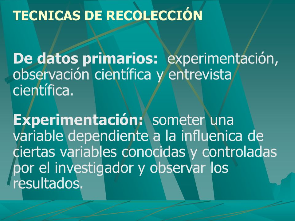 TECNICAS DE RECOLECCIÓN