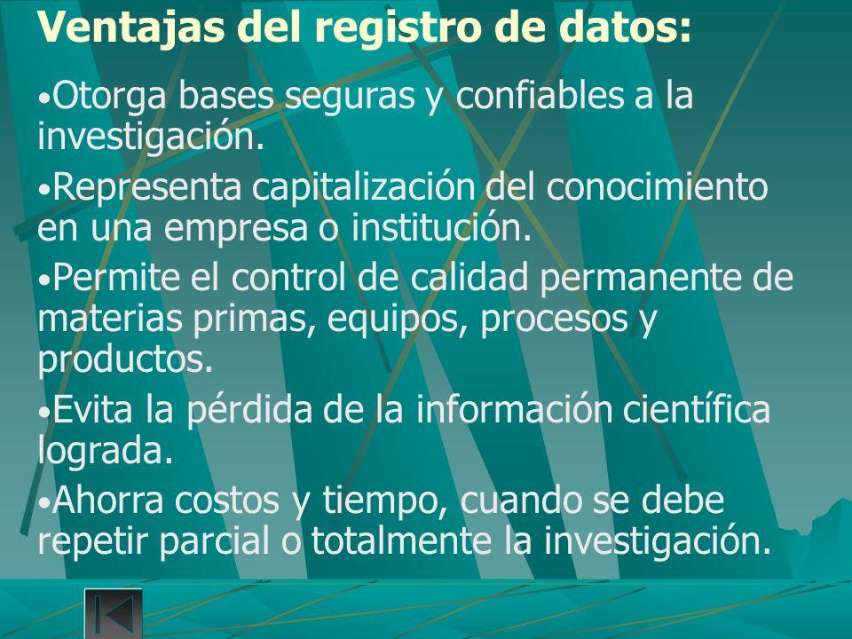 Ventajas del registro de datos: