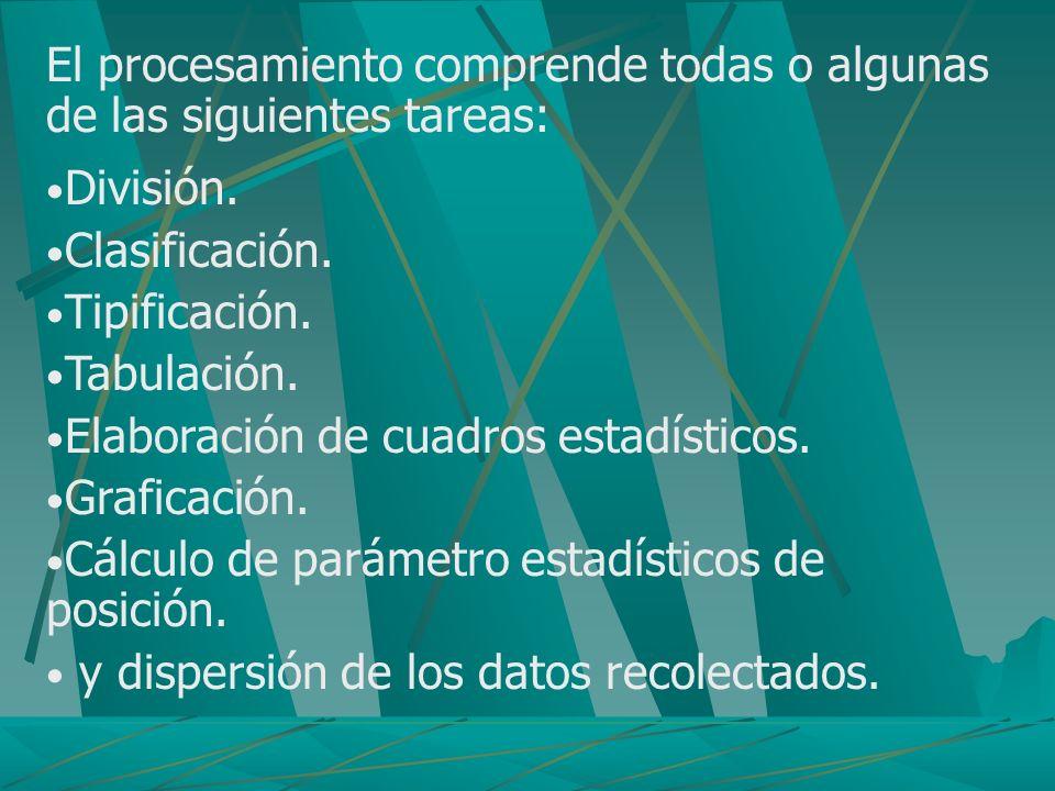 El procesamiento comprende todas o algunas de las siguientes tareas:
