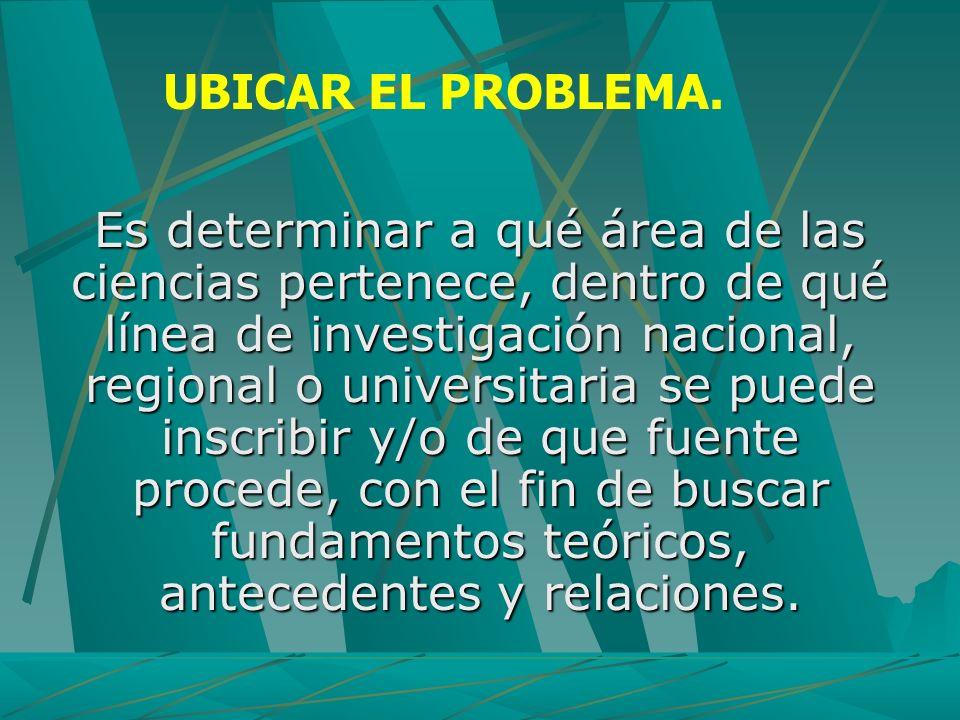 UBICAR EL PROBLEMA.
