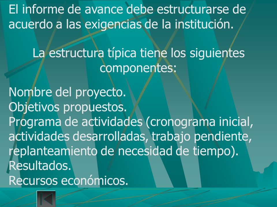 La estructura típica tiene los siguientes componentes: