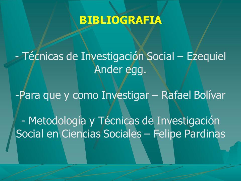 - Técnicas de Investigación Social – Ezequiel Ander egg.