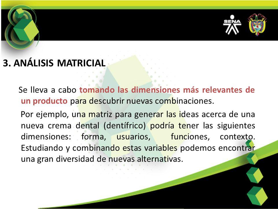 3. ANÁLISIS MATRICIAL Se lleva a cabo tomando las dimensiones más relevantes de un producto para descubrir nuevas combinaciones.