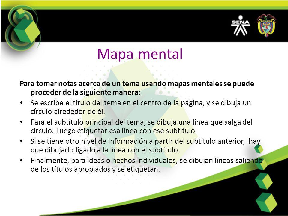 Mapa mental Para tomar notas acerca de un tema usando mapas mentales se puede proceder de la siguiente manera: