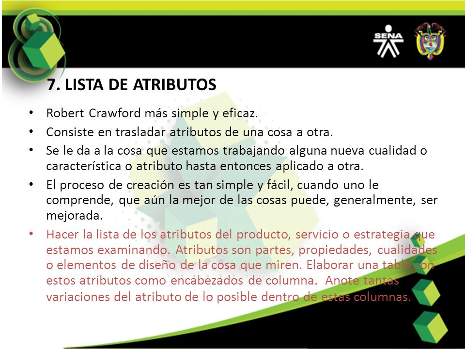 7. LISTA DE ATRIBUTOS Robert Crawford más simple y eficaz.