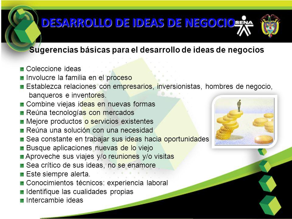 Sugerencias básicas para el desarrollo de ideas de negocios