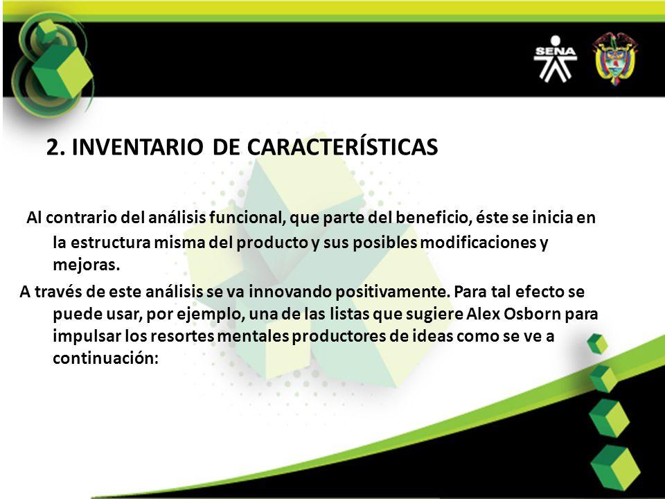 2. INVENTARIO DE CARACTERÍSTICAS
