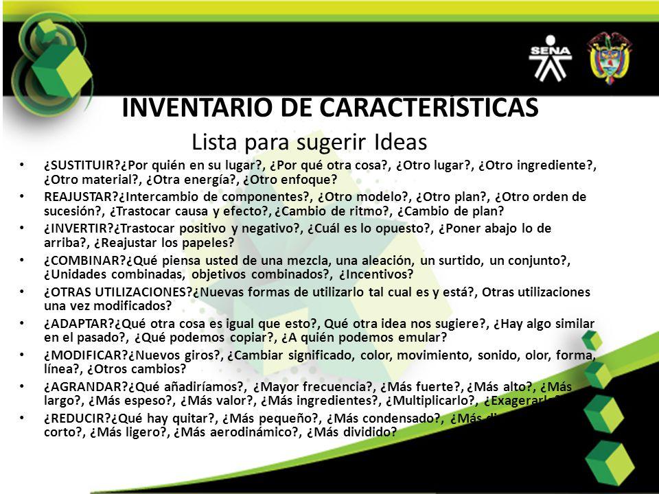 INVENTARIO DE CARACTERÍSTICAS