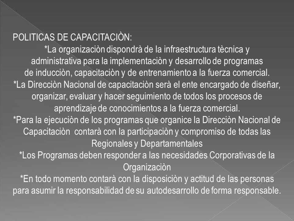 POLITICAS DE CAPACITACIÒN: