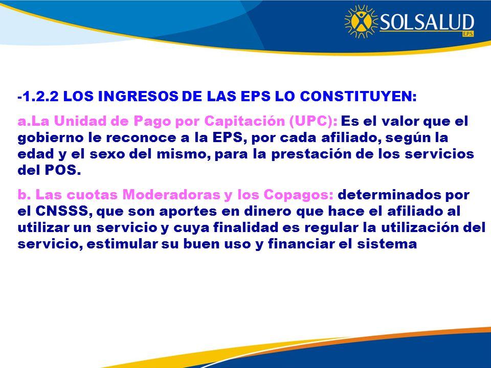 -1.2.2 LOS INGRESOS DE LAS EPS LO CONSTITUYEN: