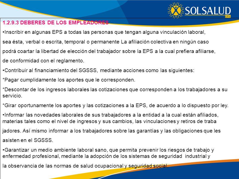 1.2.9.3 DEBERES DE LOS EMPLEADORES
