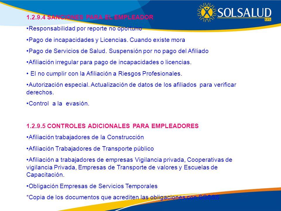 1.2.9.4 SANCIONES PARA EL EMPLEADOR