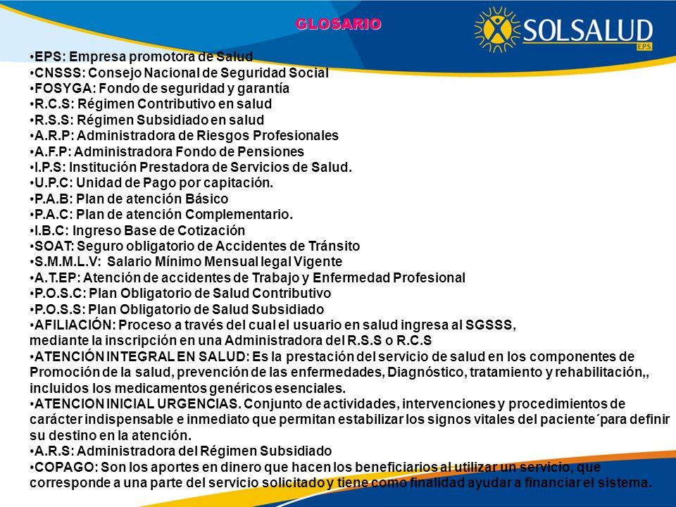 GLOSARIO EPS: Empresa promotora de Salud
