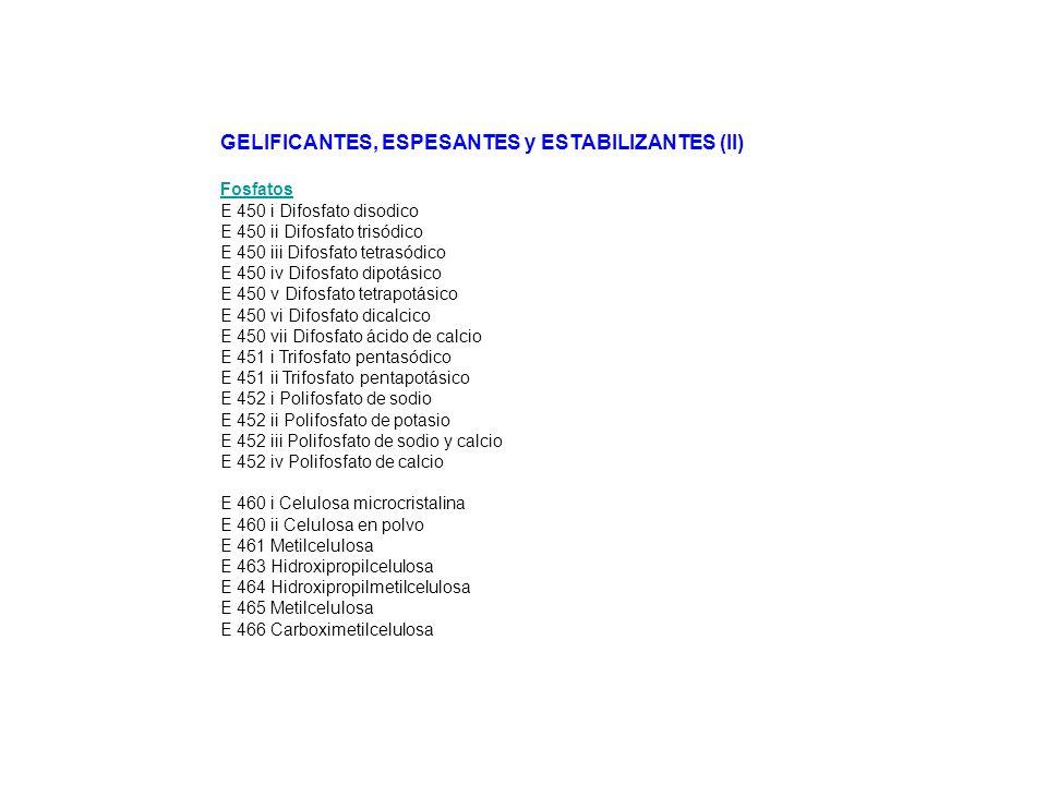 GELIFICANTES, ESPESANTES y ESTABILIZANTES (II)