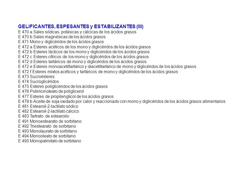 GELIFICANTES, ESPESANTES y ESTABILIZANTES (III)