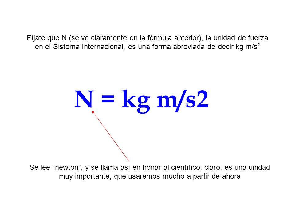 Fíjate que N (se ve claramente en la fórmula anterior), la unidad de fuerza en el Sistema Internacional, es una forma abreviada de decir kg m/s2