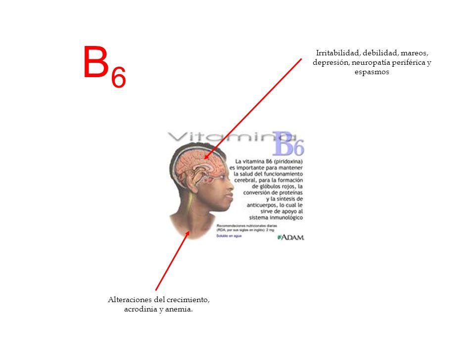 Alteraciones del crecimiento, acrodinia y anemia.
