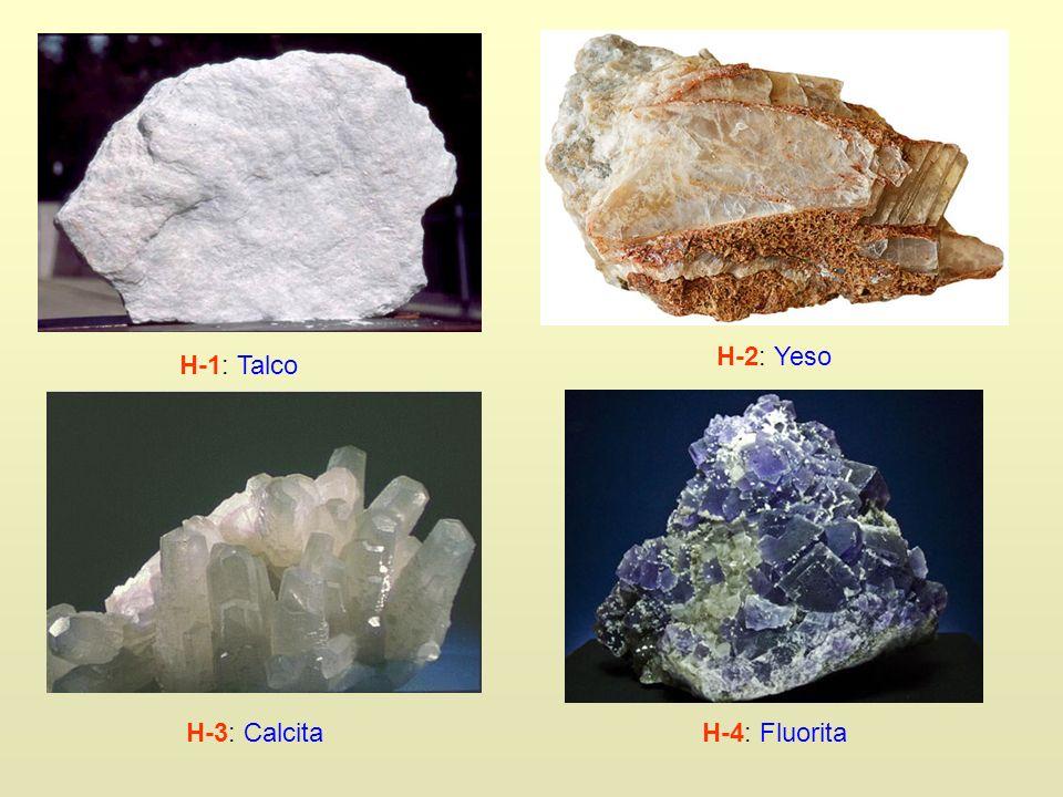 H-1: Talco H-2: Yeso H-3: Calcita H-4: Fluorita