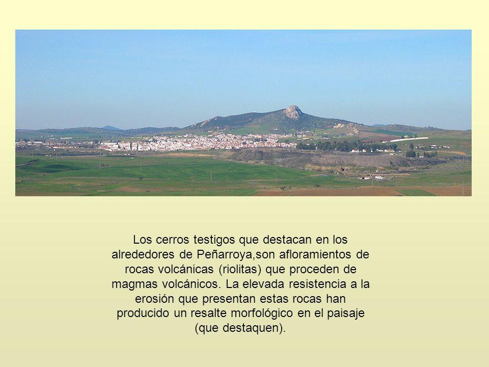 Los cerros testigos que destacan en los alrededores de Peñarroya,son afloramientos de rocas volcánicas (riolitas) que proceden de magmas volcánicos.