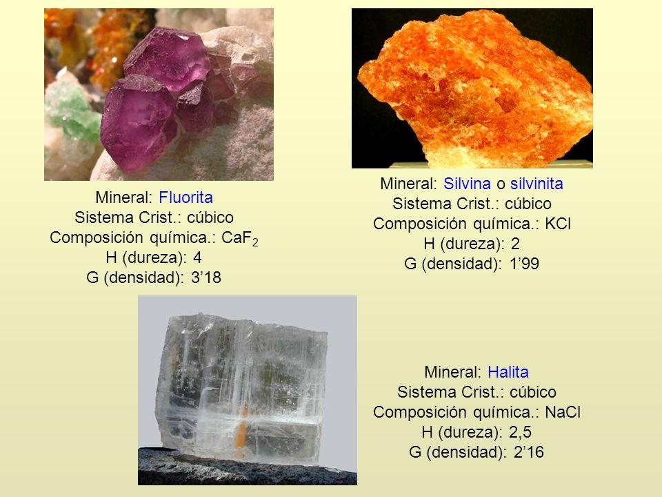 Composición química.: CaF2 H (dureza): 4 G (densidad): 3'18
