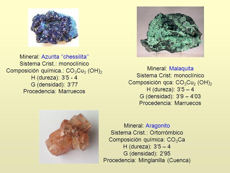 Mineral: Azurita ''chessilita'' Sistema Crist.: monoclínico