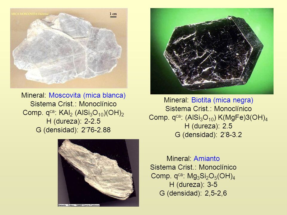 Mineral: Moscovita (mica blanca) Sistema Crist.: Monoclínico