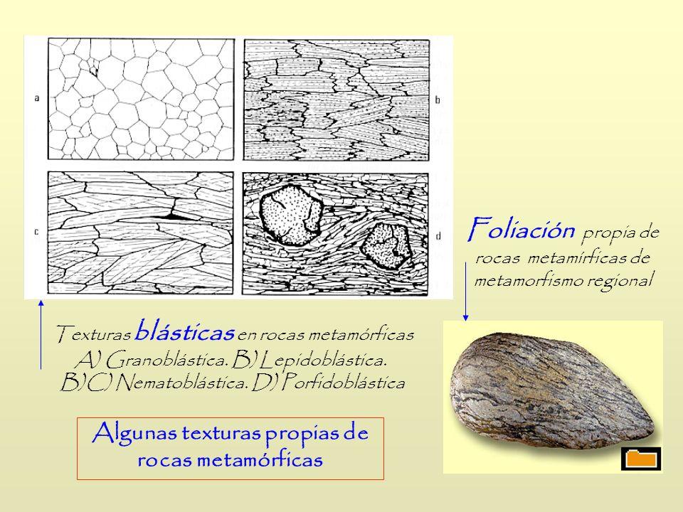 Algunas texturas propias de rocas metamórficas