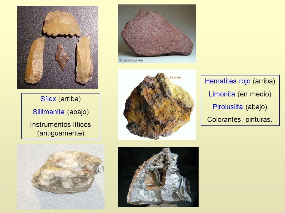 Hematites rojo (arriba) Limonita (en medio) Pirolusiita (abajo)