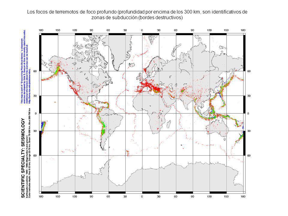 Los focos de terremotos de foco profundo (profundidad por encima de los 300 km, son identificativos de zonas de subducción (bordes destructivos)